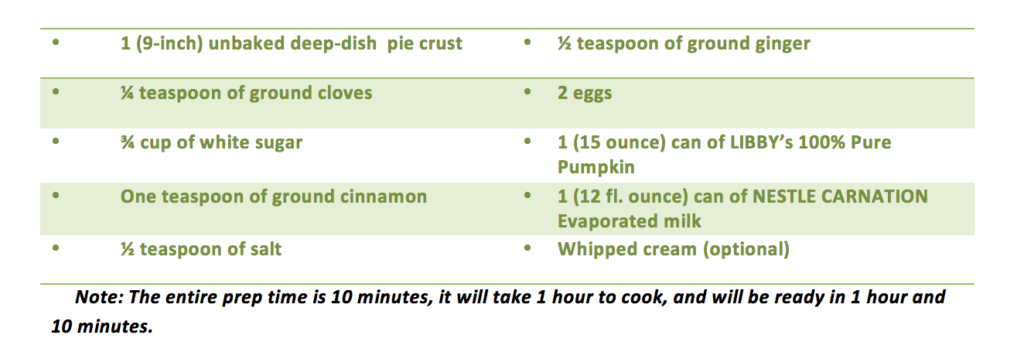 Happy Thanksgiving! Here is a Pumpkin Pie Recipe For You!